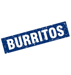 Square grunge blue burritos stamp vector