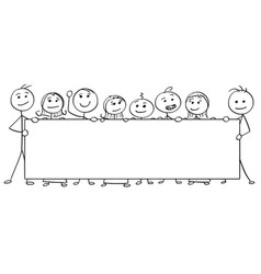Stick man cartoon of eight people holding a large vector