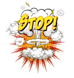 stop text on comic cloud explosion isolated vector image