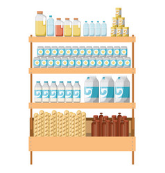Supermarket shelf colorful with foods and vector