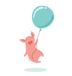 sweet scared little pig is flying in a hot air vector image