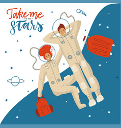 Take me to stars - lettering banner or card vector