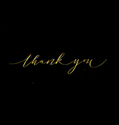 thank you golden calligraphy design for cards vector image