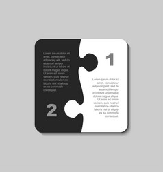 the pieces puzzle infographics two steps square vector image