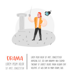 Theater actor character flat people theatrical vector
