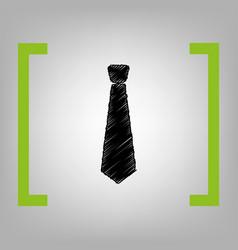 tie sign black scribble icon vector image