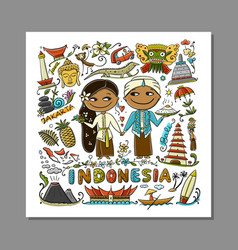 travel to indonesia greeting card for your design vector image