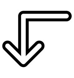 Turn Down Stroke Icon vector