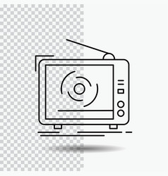tv ad advertising television set line icon on vector image