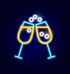 two glasses drink neon sign vector image