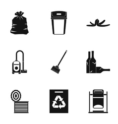 Types of waste icons set simple style vector image