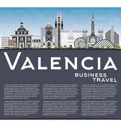 Valencia Skyline with Gray Buildings vector image