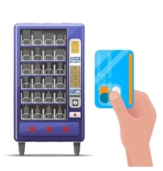 Vending machine and hand with credit card vector