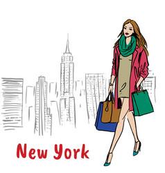 walking in new york vector image