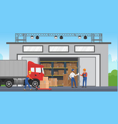 Warehouse workers are arranging goods vector