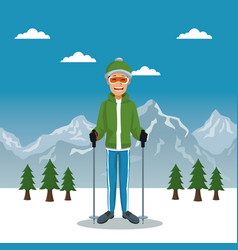 winter mountain landscape poster with scaler guy vector image