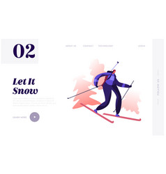 Winter sport and healthy lifestyle website landing vector