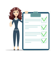 Woman with a questionnaire vector