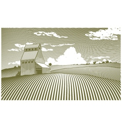 Woodcut grain elevator vector