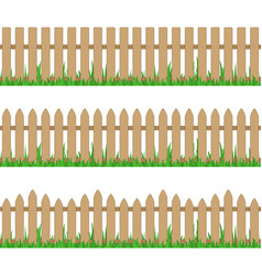 Wooden fence with grass vector