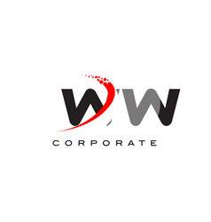 Ww modern letter logo design with swoosh vector