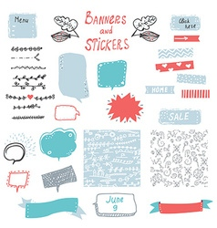 Banner and stickers set for the web design vector image
