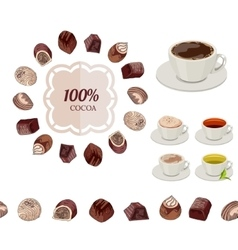 Different chocolate candies and cups of tea and vector image vector image