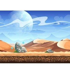 Seamless desert with stones and spaceships vector image