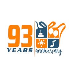 93 years gift box ribbon annivers vector