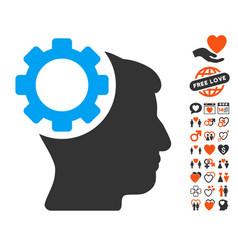 brain gear icon with lovely bonus vector image