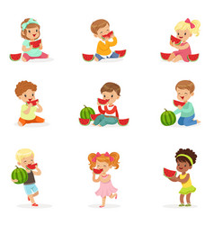 Cute little kids eating watermelon healthy eating vector