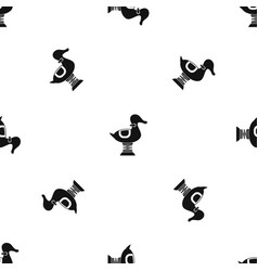 Duck spring see saw pattern seamless black vector