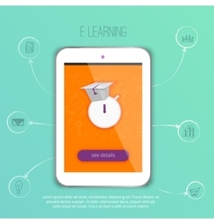 E-learning concept application with tablet vector image vector image