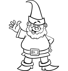 gnome or dwarf cartoon for coloring book vector image