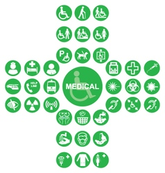 Green Medical and health care Icon collection vector image vector image