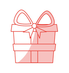 red shading silhouette of gift box vector image