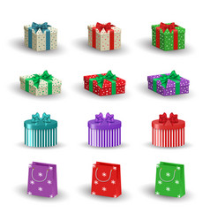 set of realistic christmas gifts vector image vector image