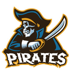 skull pirate with the sword vector image