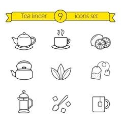 Tea linear icons set vector image vector image