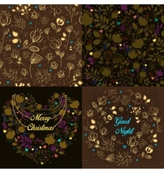 Brown festive cards with floral patterns vector image