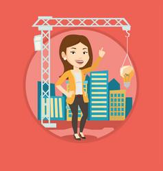businesswoman having business idea vector image vector image