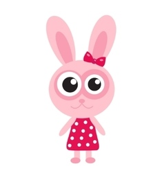 Cute pink bunny rabbit icon flat design vector image vector image