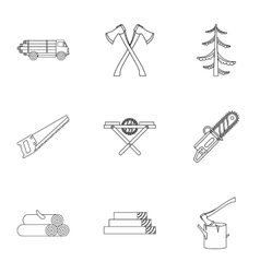 Cutting down trees icons set outline style vector image