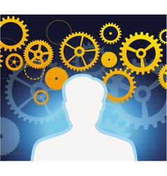 male profile with gears and cogs - vector image vector image