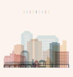 saskatoon skyline detailed silhouette vector image
