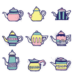 set of hand drawn vintage tea pots vector image vector image