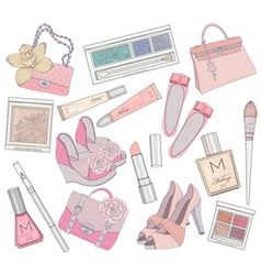 Shoes makeup and bags element set vector