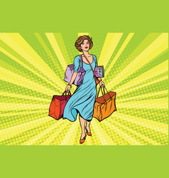 woman with empty shopping bags vector image