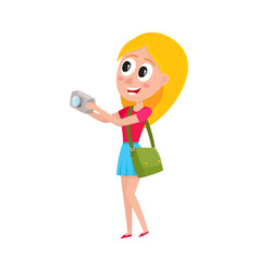 young pretty woman tourist on vacation tour vector image vector image