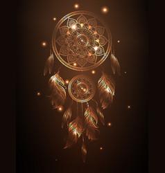 dreamcatcher in golden gradient vector image vector image